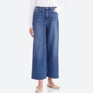 Uniqlo Dark Wash High Waist Wide Leg Jeans